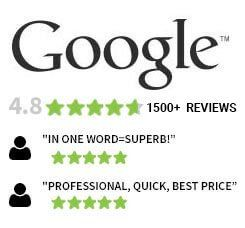 Over 1800 Reviews on Google with a 4.8 five stars rating.